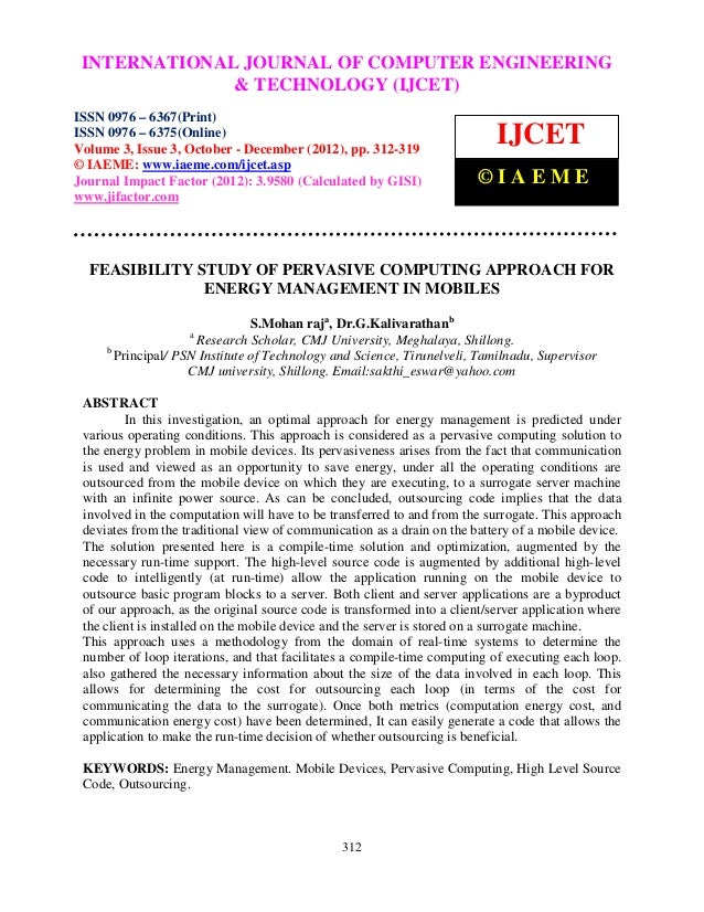 Feasibility study of pervasive computing