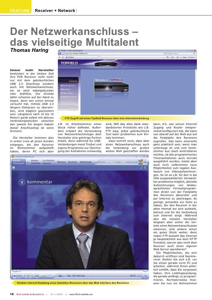 FEATURE            Receiver + Network     Der Netzwerkanschluss – das vielseitige Multitalent Thomas Haring   Immer      m...