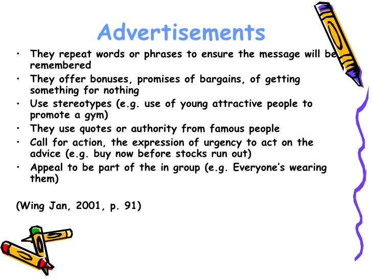 Features Of An Advertisement Power Point on Persuasive Techniques Worksheet
