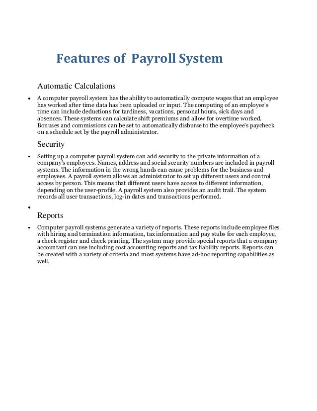 Features of  payroll system