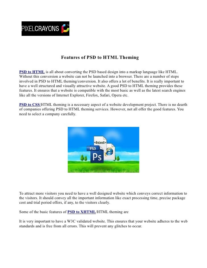 Features of psd to html theming (xhtml)