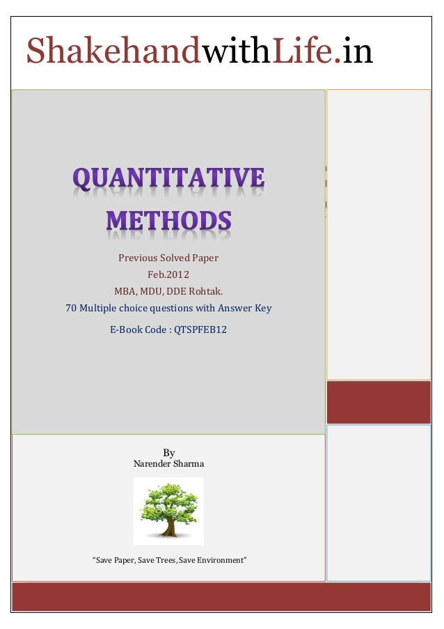Quantitative Businnes Modelling Paper?