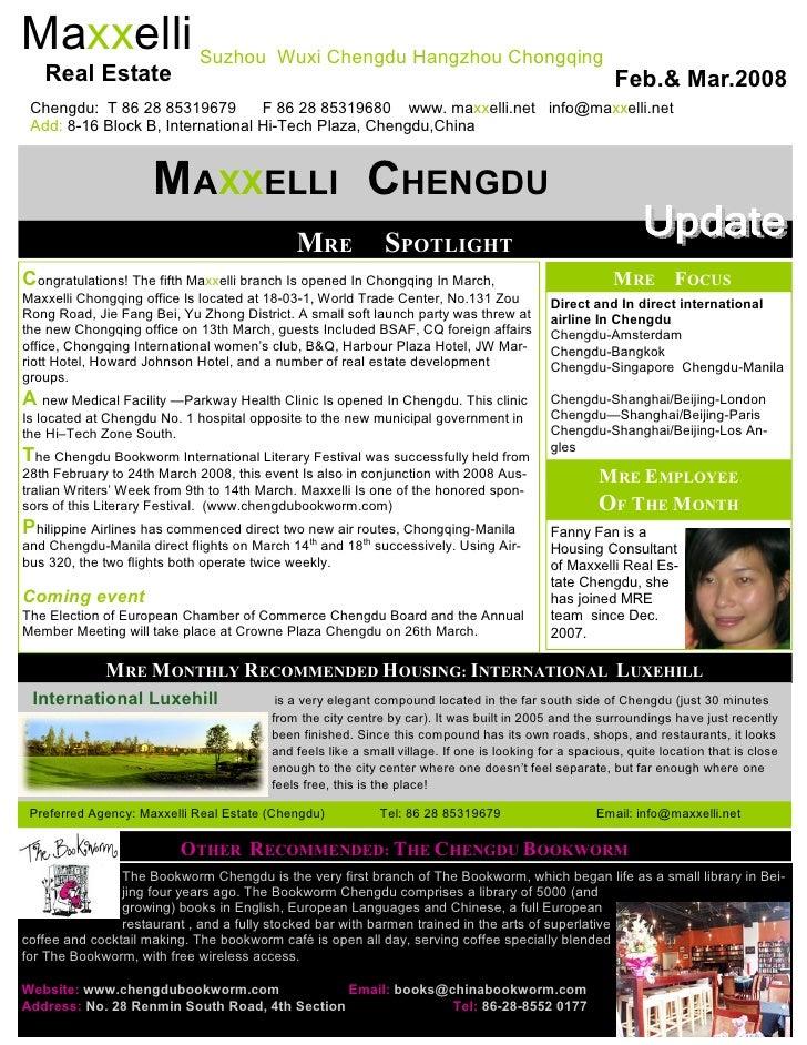 Newsletter Maxxelli Chengdu February, March 2008