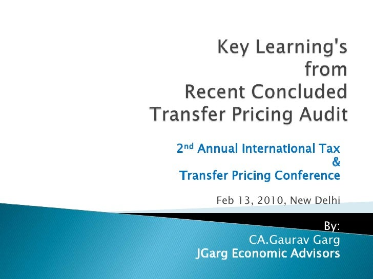 Intangible Asset, Inter-Company Services and Transfer Pricing