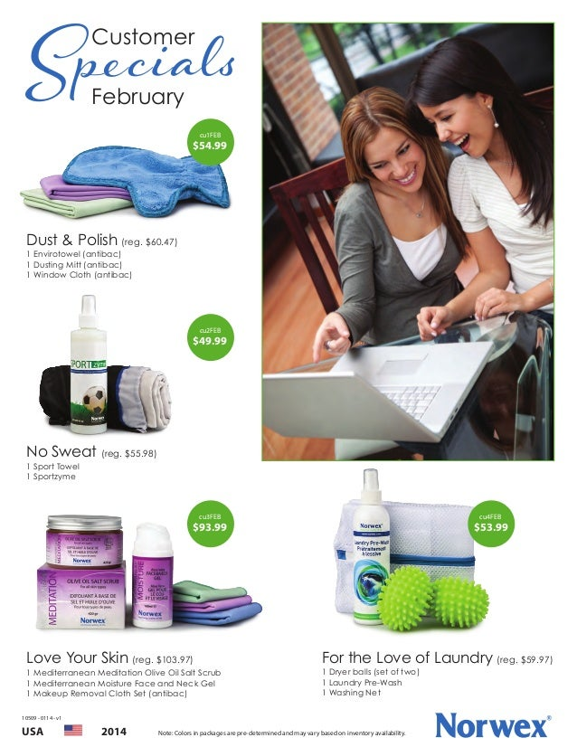 Specials Customer February  cu1FEB  $54.99  Dust & Polish (reg. $60.47) 1 Envirotowel (antibac) 1 Dusting Mitt (antibac) 1...