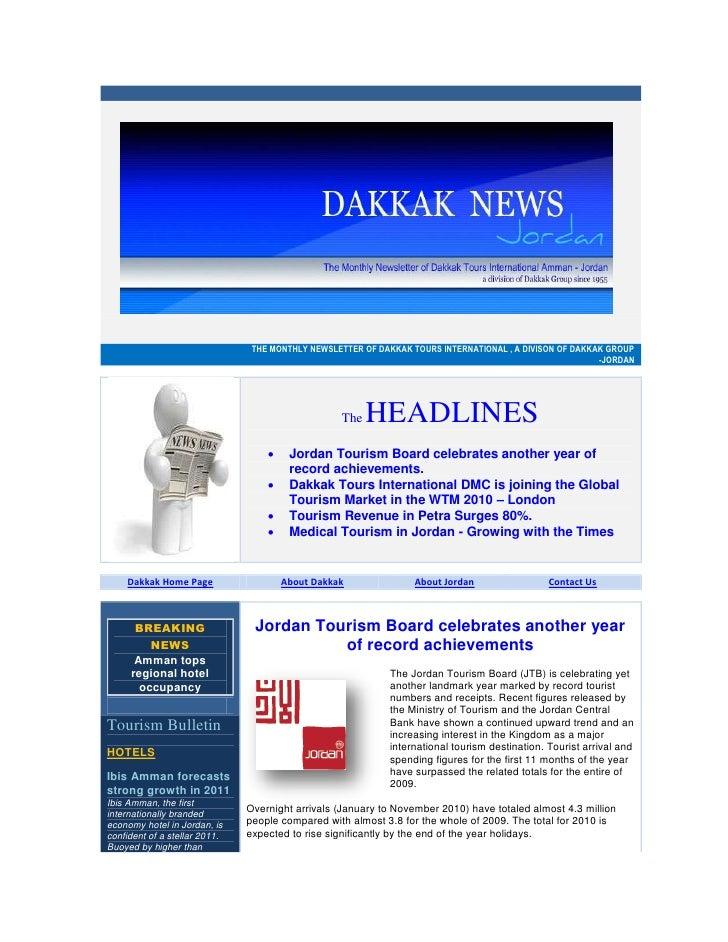 THE MONTHLY NEWSLETTER OF DAKKAK TOURS INTERNATIONAL , A DIVISON OF DAKKAK GROUP                                          ...