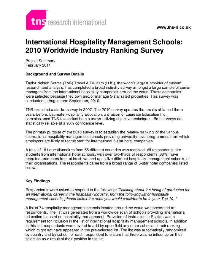 www.tns-ri.co.ukInternational Hospitality Management Schools:2010 Worldwide Industry Ranking SurveyProject SummaryFebruary...