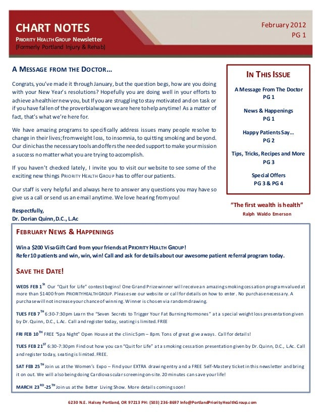 CHART NOTES PRIORITY HEALTHGROUP Newsletter (Formerly Portland Injury & Rehab) February 2012 PG 1 IN THIS ISSUE A Message ...