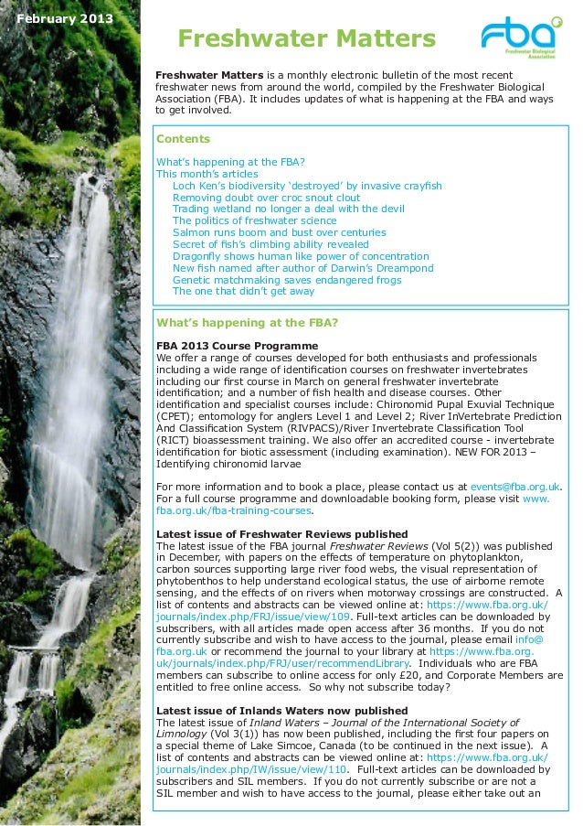 February 2013                    Freshwater Matters                Freshwater Matters is a monthly electronic bulletin of ...