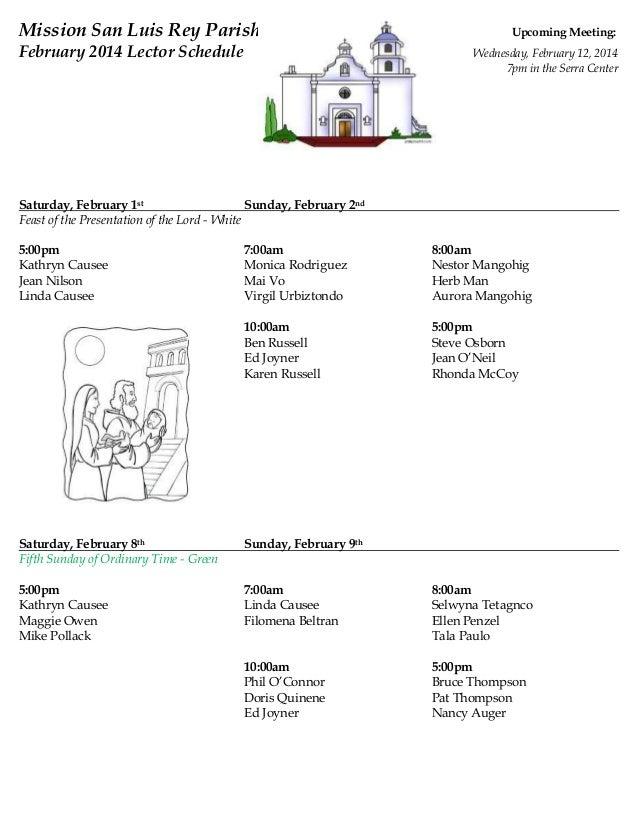 February Lectors Schedule 2014
