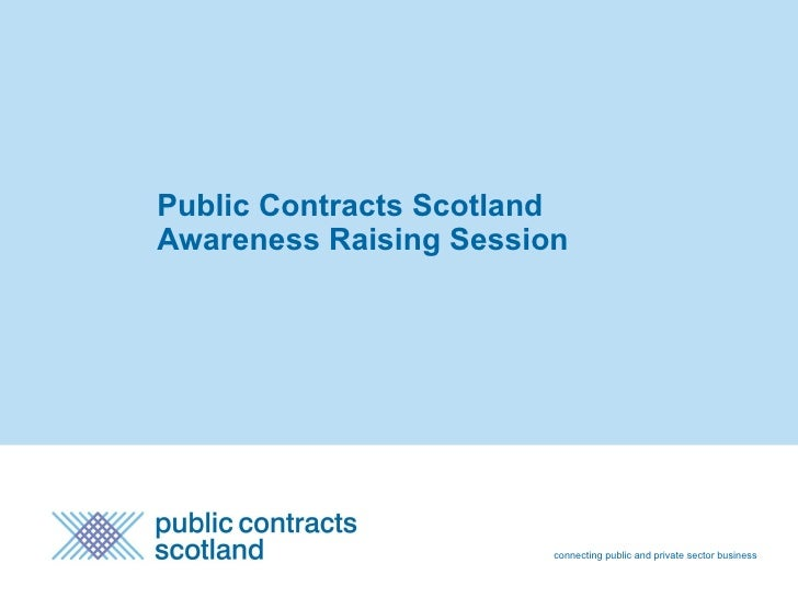 Public Contracts Scotland  Awareness Raising Session connecting public and private sector business