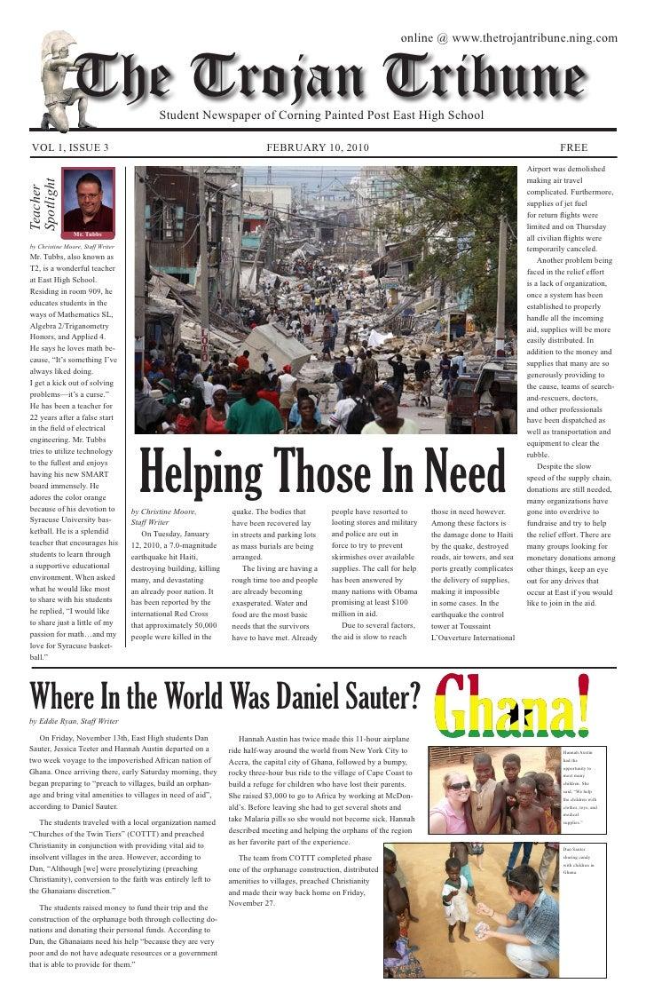 online @ www.thetrojantribune.ning.com                    The Trojan Tribune          Student Newspaper of Corning Painted...