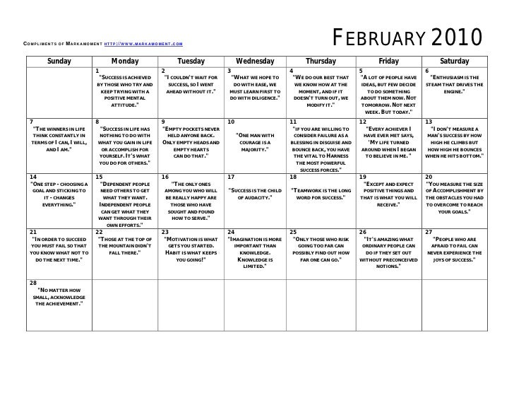 Monthly Motivational Calendar February 2010