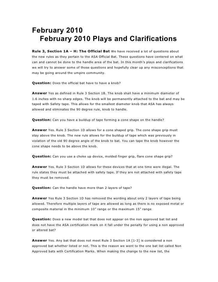 February 2010   February 2010 Plays and Clarifications Rule 3, Section 1A – H: The Official Bat We have received a lot of ...