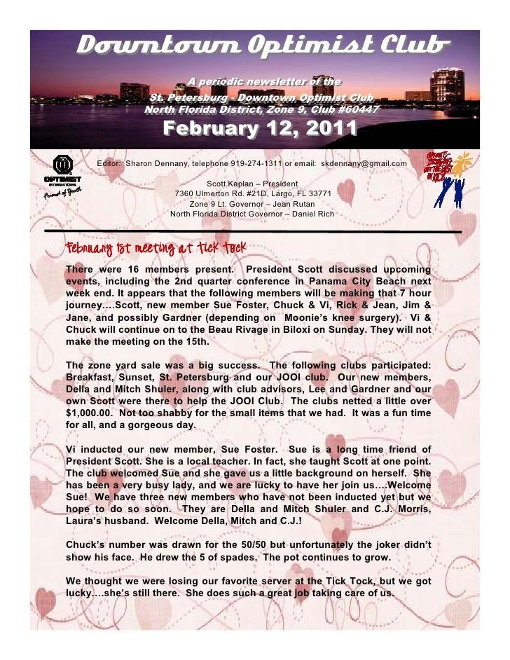 Downtown Optimist Club                         A periodic newsletter of the                          A periodic newsletter...
