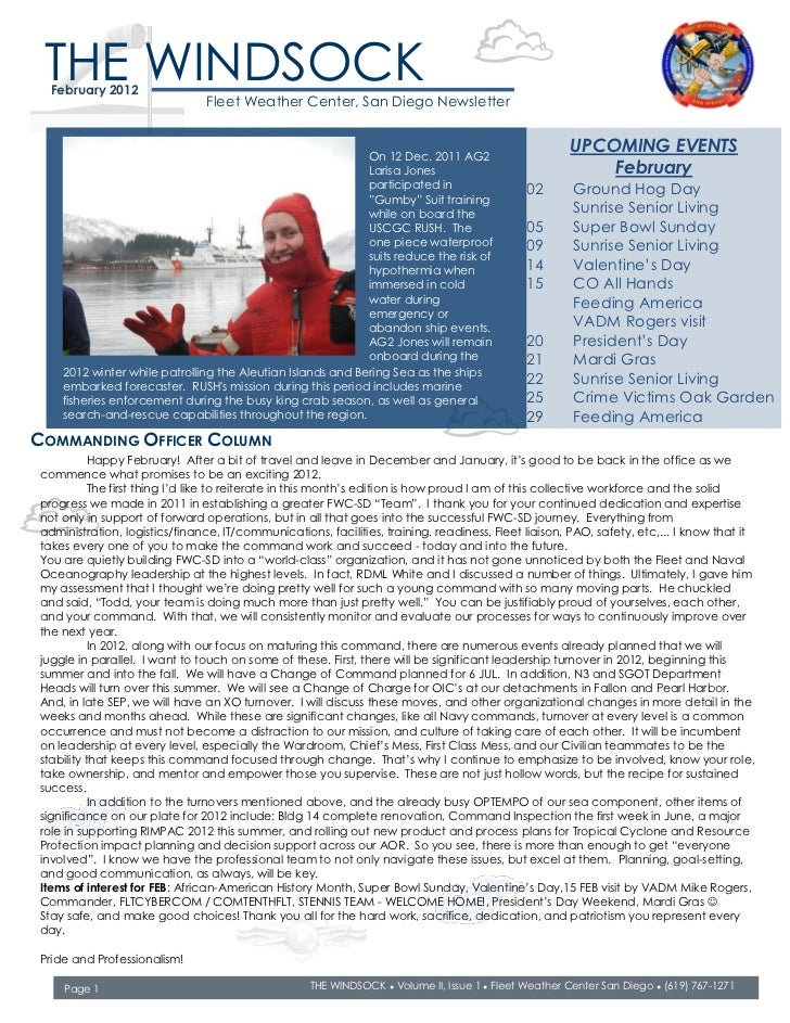 THE WINDSOCK  February 2012                               Fleet Weather Center, San Diego Newsletter                      ...