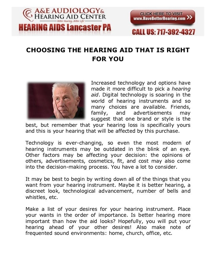 CHOOSING THE HEARING AID THAT IS RIGHT FOR YOU