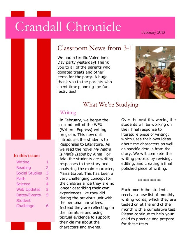 Crandall Chronicle                                                February 2013                      Classroom News from 3...