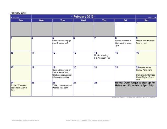 February 2013◄ Jan 2013                                                           ~ February 2013 ~                       ...