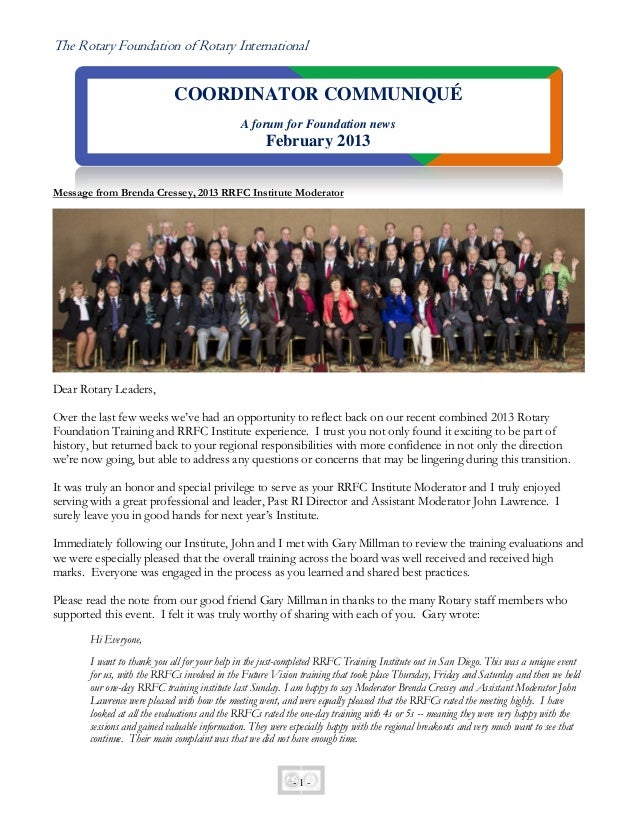 The Rotary Foundation of Rotary International                            COORDINATOR COMMUNIQUÉ                           ...
