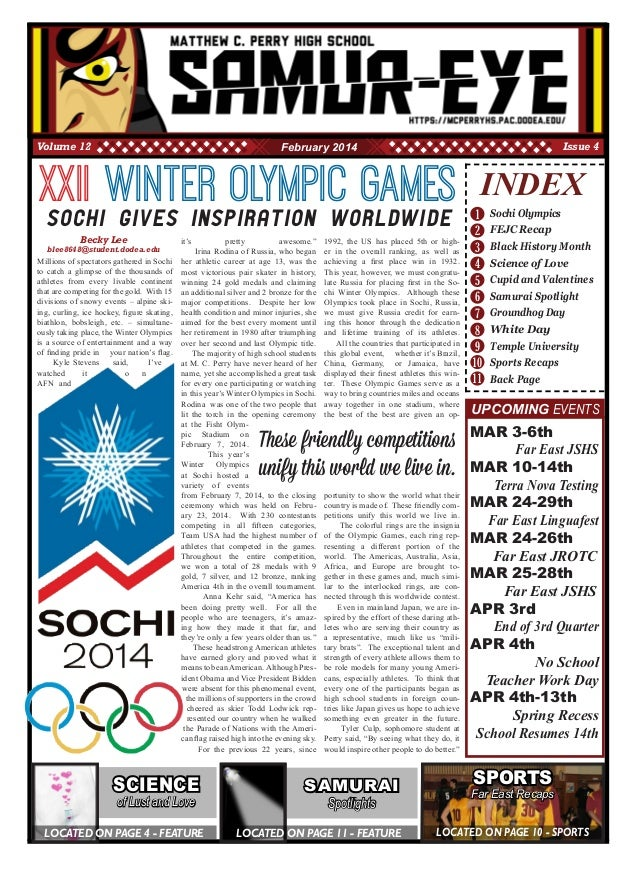 1 2 3 4 5 8 10 11 INDEX Sochi Olympics FEJC Recap Black History Month Science of Love Cupid and Valentines Samurai Spotlig...
