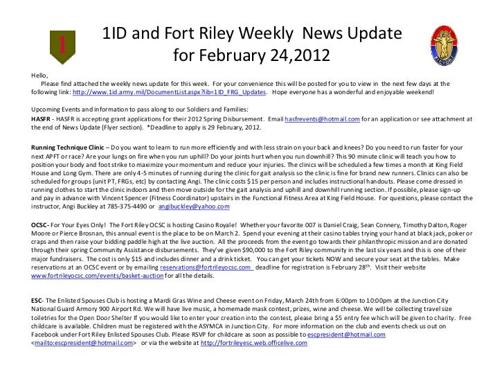 1ID and Fort Riley Weekly News Updat