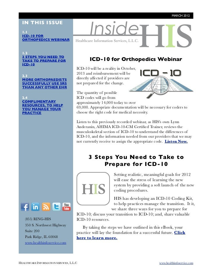MARCH 2012                                              Inside  IN THIS ISSUE  1.1  ICD-10 FOR  ORTHOPEDICS WEBINAR  1.2  ...