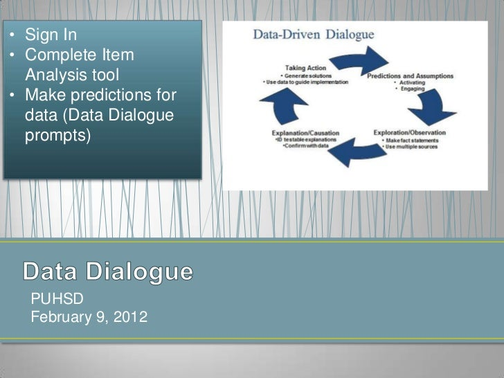 • Sign In• Complete Item  Analysis tool• Make predictions for  data (Data Dialogue  prompts)  PUHSD  February 9, 2012