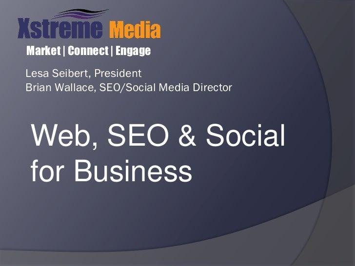 Market | Connect | EngageLesa Seibert, PresidentBrian Wallace, SEO/Social Media DirectorWeb, SEO & Socialfor Business