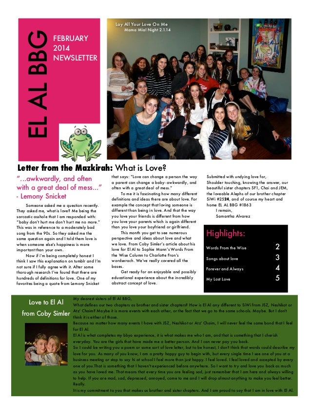 EL AL BBG  Lay All Your Love On Me  Mama Mia! Night 2.1.14  FEBRUARY 2014 NEWSLETTER  Letter from the Mazkirah: What is Lo...