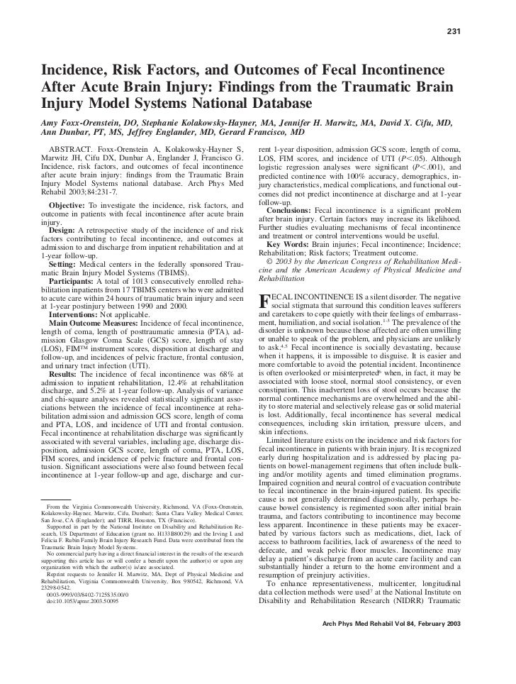 231Incidence, Risk Factors, and Outcomes of Fecal IncontinenceAfter Acute Brain Injury: Findings from the Traumatic BrainI...