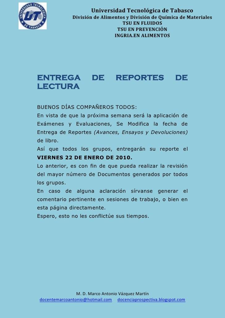Universidad Tecnológica de Tabasco m.             División de Alimentos y División de Química de Materiales               ...