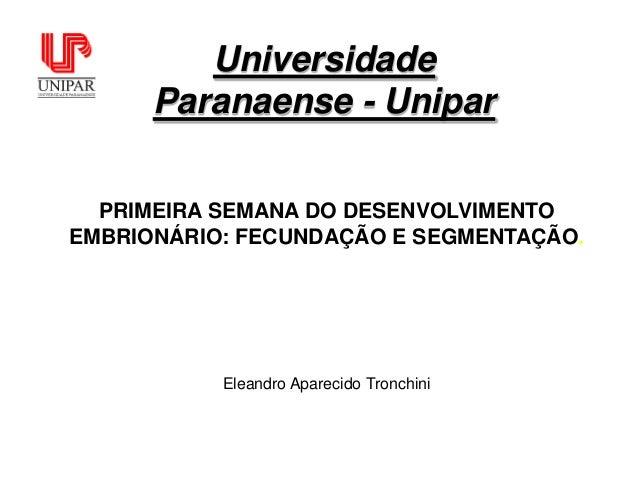 Universidade      Paranaense - Unipar  PRIMEIRA SEMANA DO DESENVOLVIMENTOEMBRIONÁRIO: FECUNDAÇÃO E SEGMENTAÇÃO.           ...