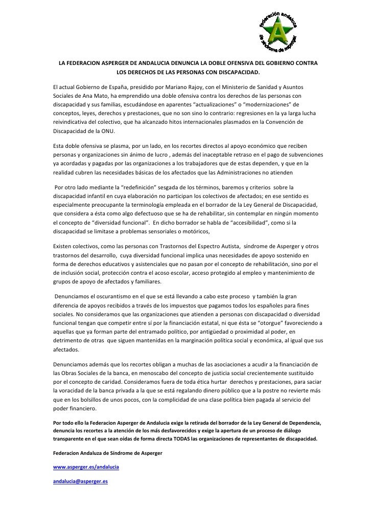 LA FEDERACION ASPERGER DE ANDALUCIA DENUNCIA LA DOBLE OFENSIVA DEL GOBIERNO CONTRA                     LOS DERECHOS DE LAS...