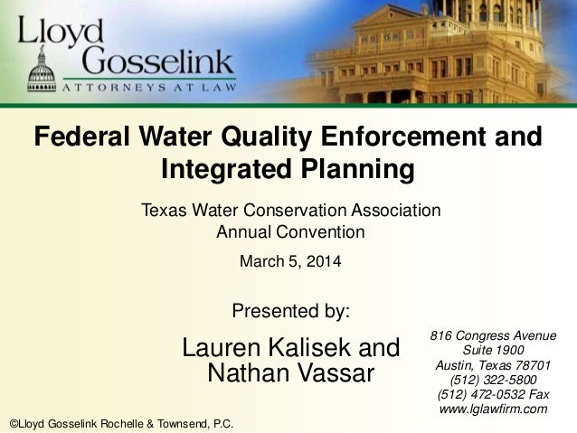 Federal water quality enforcement and integrated planning