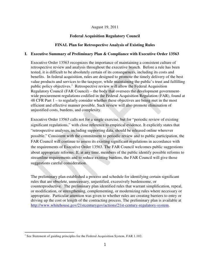 Federal Acquisitionr Regulatory Reform Plan August 2011