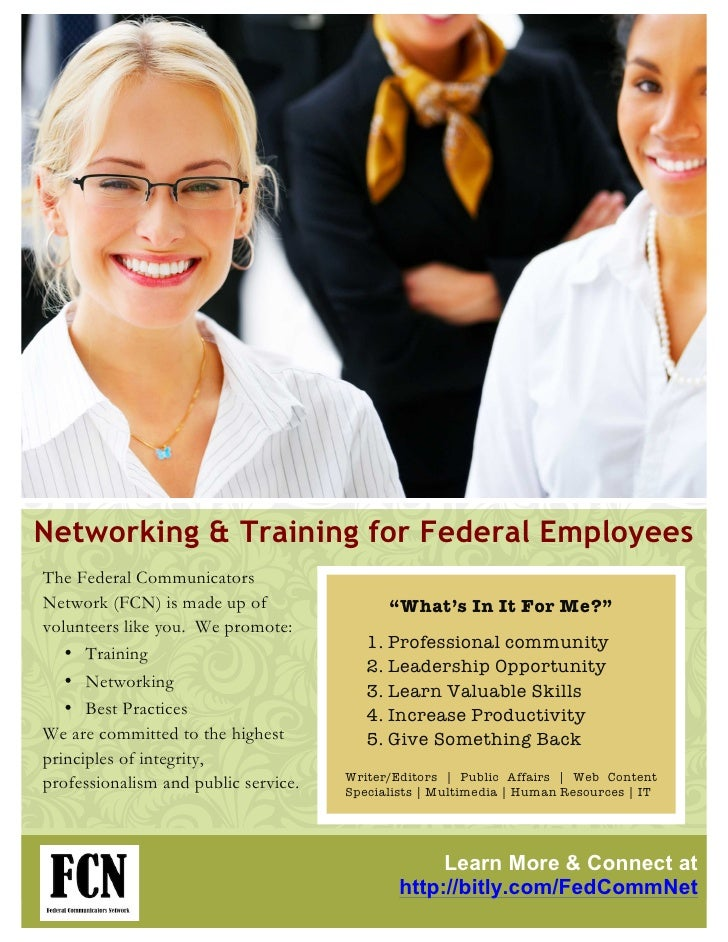 """Networking & Training for Federal EmployeesThe Federal CommunicatorsNetwork (FCN) is made up of                 """"What's In..."""