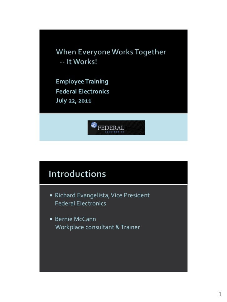 When Everyone Works Together - It Works! 11 Handout