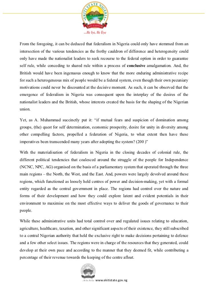 Thesis on fiscal federalism in nigeria
