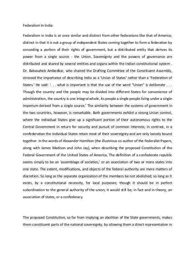thesis on federalism in india Federalism in india - part 2  response paper 1 question two federalism is a basic feature of the constitution as held by the.