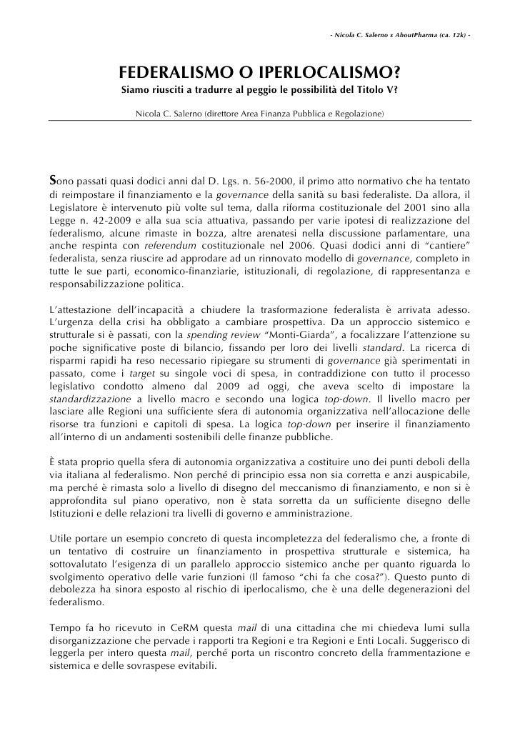 Federalismo o Iperlocalismo nelle rifome italiane?