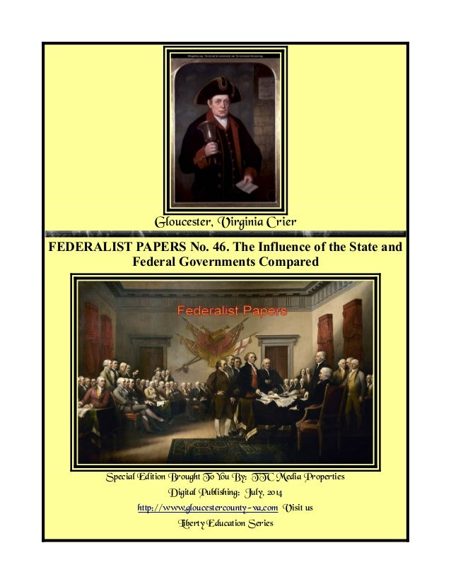 Federalist Papers No 46, State And Federal Government Compared