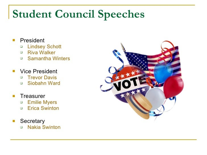 student council business manager speech Institutional management student representative council (src) 1 composition of the executive members of the college student representative council.