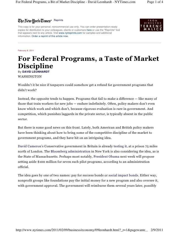 For Federal Programs, a Bit of Market Discipline - David Leonhardt - NYTimes.com                    Page 1 of 4           ...