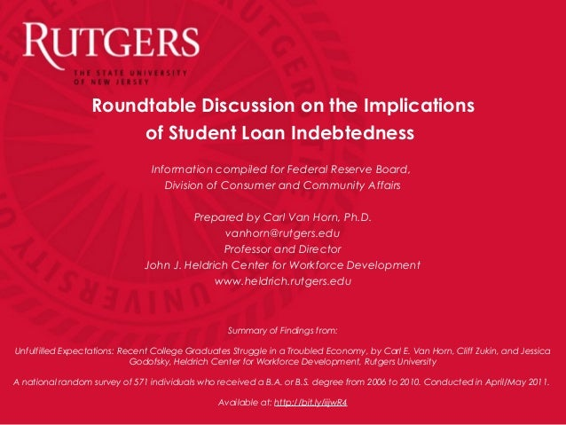 Roundtable Discussion on the Implicationsof Student Loan IndebtednessInformation compiled for Federal Reserve Board,Divisi...