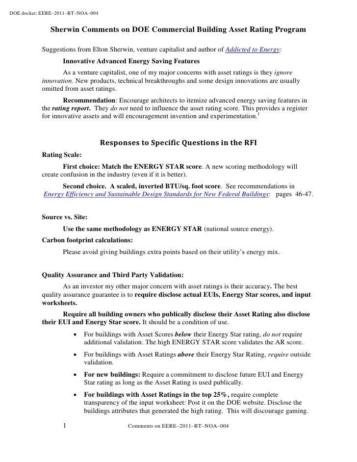 Comments on DOE Commercial Building Asset Rating Program
