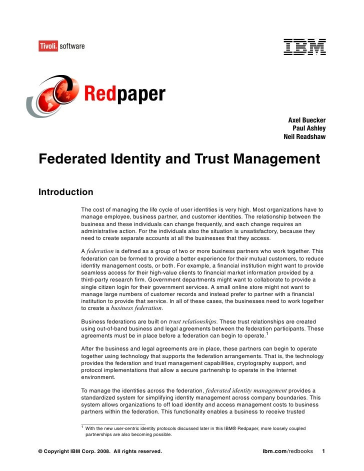 Federated identity and trust management redp3678