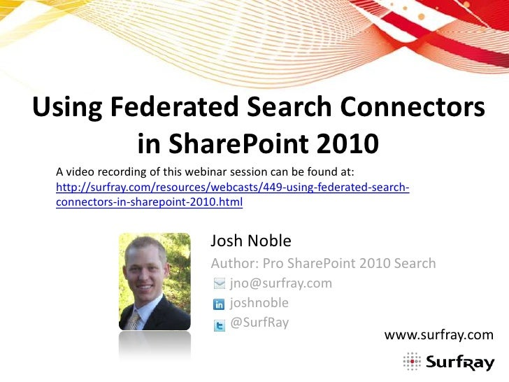 Using Federated Search Connectors in SharePoint 2010