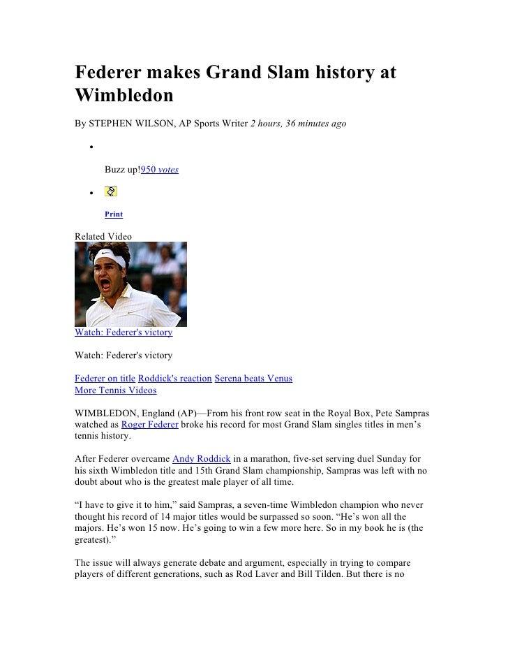 Federer Makes Grand Slam History At Wimbledon