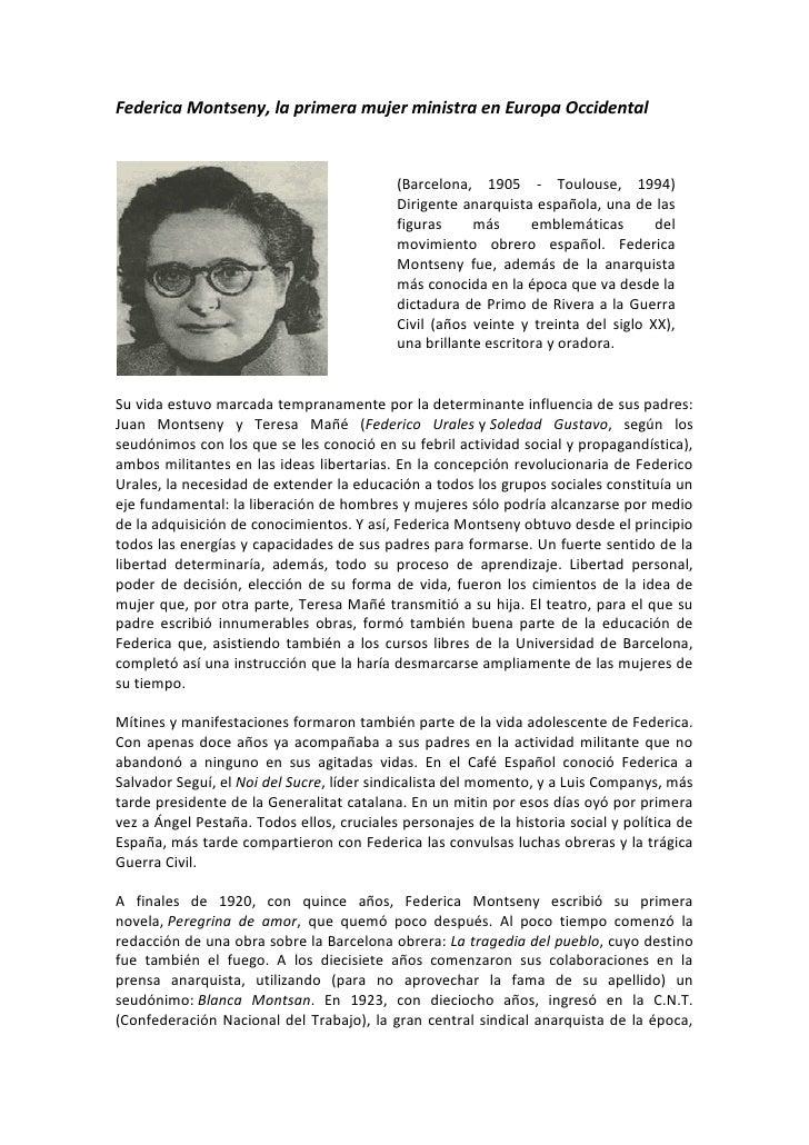 Federica Montseny, la primera mujer ministra en Europa Occidental                                           (Barcelona, 19...